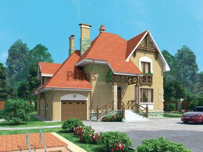 Проект двухэтажного дома 16x15 метров, общей площадью 252 м2, из керамических блоков, c гаражом и котельной