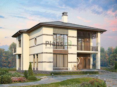Проект двухэтажного дома 16x15 метров, общей площадью 294 м2, из керамических блоков, c террасой, котельной и кухней-столовой