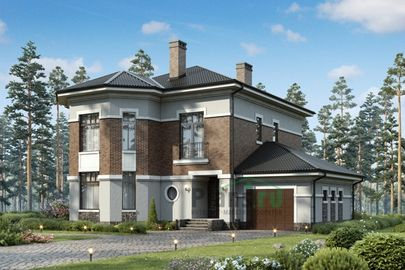 Проект двухэтажного дома 16x16 метров, общей площадью 208 м2, из газобетона (пеноблоков), c гаражом, террасой, котельной и кухней-столовой