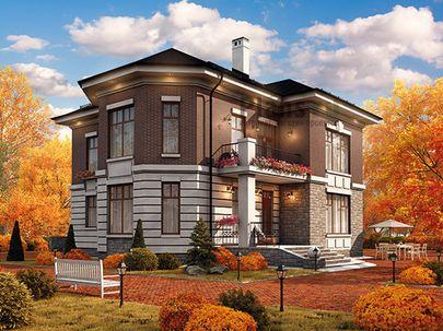Проект двухэтажного дома 16x16 метров, общей площадью 236 м2, из керамических блоков, c террасой, котельной и кухней-столовой