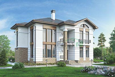 Проект двухэтажного дома 16x16 метров, общей площадью 239 м2, из керамических блоков, со вторым светом, c террасой, котельной и кухней-столовой