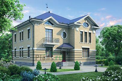 Проект двухэтажного дома 16x16 метров, общей площадью 313 м2, из керамических блоков, c террасой, котельной и кухней-столовой