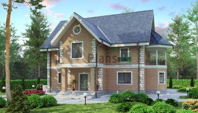 Проект двухэтажного дома 16x17 метров, общей площадью 229 м2, из керамических блоков, c террасой и котельной