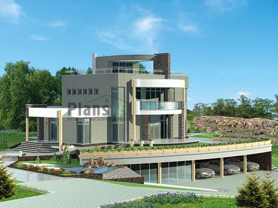 Проект двухэтажного дома 16x18 метров, общей площадью 251 м2, из керамических блоков, со вторым светом, c гаражом, бассейном, террасой, котельной, лоджией и кухней-столовой