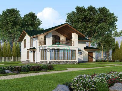 Проект двухэтажного дома 16x19 метров, общей площадью 252 м2, из газобетона (пеноблоков), c гаражом, бассейном и террасой