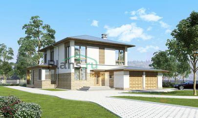 Проект двухэтажного дома 16x22 метров, общей площадью 322 м2, из керамических блоков, со вторым светом, c гаражом, террасой, котельной и кухней-столовой