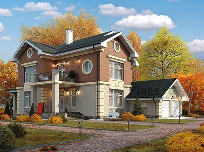 Проект двухэтажного дома 16x24 метров, общей площадью 282 м2, из керамических блоков, c гаражом, террасой, котельной и кухней-столовой