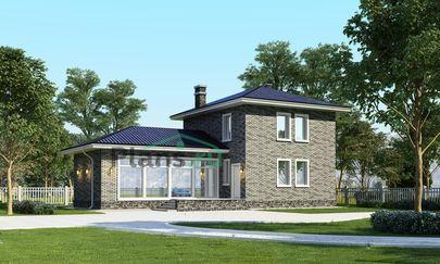 Проект двухэтажного дома 16x9 метров, общей площадью 129 м2, из керамических блоков, c бассейном, террасой, котельной и кухней-столовой