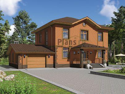 Проект двухэтажного дома 17x10 метров, общей площадью 213 м2, из керамических блоков, c гаражом, террасой, котельной и кухней-столовой