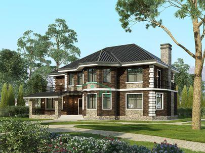 Проект двухэтажного дома 17x11 метров, общей площадью 209 м2, из керамических блоков, c террасой, котельной и кухней-столовой