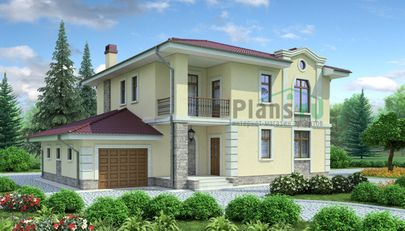 Проект двухэтажного дома 17x11 метров, общей площадью 237 м2, из керамических блоков, c гаражом, террасой, котельной и кухней-столовой