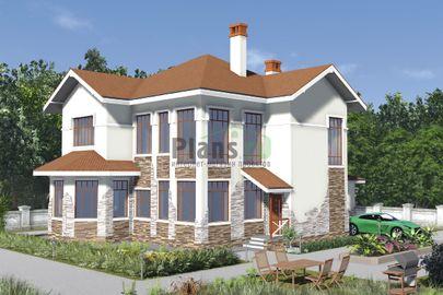 Проект двухэтажного дома 17x12 метров, общей площадью 205 м2, из газобетона (пеноблоков), c гаражом, котельной и кухней-столовой