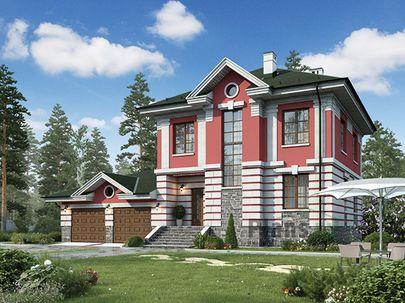 Проект двухэтажного дома 17x12 метров, общей площадью 211 м2, из керамических блоков, c гаражом, террасой, котельной и кухней-столовой