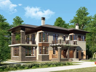 Проект двухэтажного дома 17x12 метров, общей площадью 239 м2, из газобетона (пеноблоков), c зимним садом, террасой, котельной и кухней-столовой