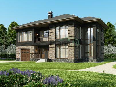 Проект двухэтажного дома 17x12 метров, общей площадью 245 м2, из газобетона (пеноблоков), со вторым светом, c гаражом, террасой, котельной, лоджией и кухней-столовой