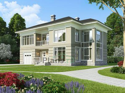 Проект двухэтажного дома 17x12 метров, общей площадью 245 м2, из кирпича, со вторым светом, c гаражом, террасой, котельной, лоджией и кухней-столовой