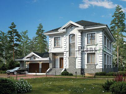 Проект двухэтажного дома 17x12 метров, общей площадью 247 м2, из керамических блоков, c гаражом, террасой, котельной и кухней-столовой