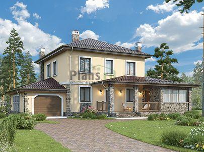 Проект двухэтажного дома 17x13 метров, общей площадью 183 м2, из газобетона (пеноблоков), c гаражом, террасой, котельной и кухней-столовой