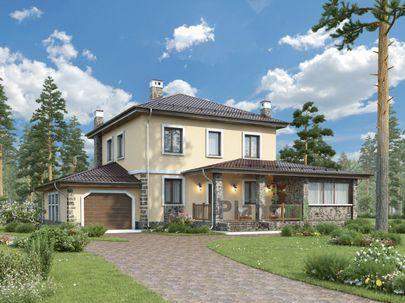 Проект двухэтажного дома 17x13 метров, общей площадью 186 м2, из кирпича, c гаражом, террасой, котельной и кухней-столовой