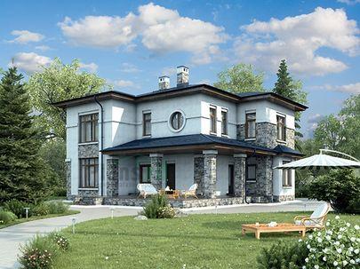 Проект двухэтажного дома 17x13 метров, общей площадью 215 м2, из газобетона (пеноблоков), c террасой и котельной