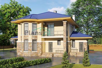 Проект двухэтажного дома 17x13 метров, общей площадью 226 м2, из газобетона (пеноблоков), c террасой, котельной и кухней-столовой