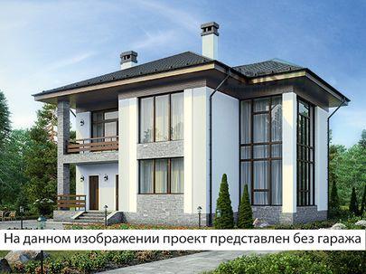 Проект двухэтажного дома 17x13 метров, общей площадью 235 м2, из газобетона (пеноблоков), со вторым светом, c гаражом, террасой, котельной и кухней-столовой