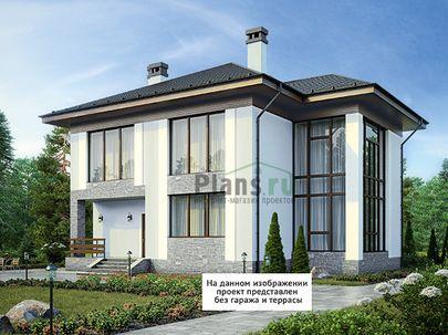 Проект двухэтажного дома 17x13 метров, общей площадью 237 м2, из керамических блоков, со вторым светом, c гаражом, террасой, котельной и кухней-столовой
