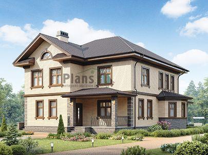Проект двухэтажного дома 17x13 метров, общей площадью 242 м2, из газобетона (пеноблоков), c зимним садом, террасой, котельной и кухней-столовой
