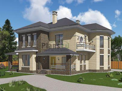 Проект двухэтажного дома 17x13 метров, общей площадью 243 м2, из газобетона (пеноблоков), c террасой, котельной и кухней-столовой