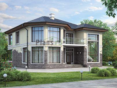 Проект двухэтажного дома 17x13 метров, общей площадью 262 м2, из керамических блоков, c гаражом, террасой, котельной и кухней-столовой