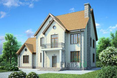 Проект двухэтажного дома 17x13 метров, общей площадью 264 м2, из керамических блоков, c гаражом и котельной