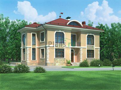 Проект двухэтажного дома 17x13 метров, общей площадью 268 м2, из керамических блоков, со вторым светом, c котельной, лоджией и кухней-столовой