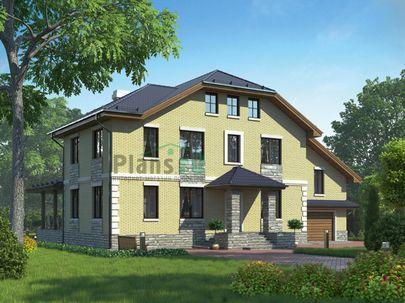 Проект двухэтажного дома 17x13 метров, общей площадью 367 м2, из керамических блоков, c гаражом, террасой и котельной