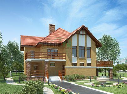 Проект двухэтажного дома 17x14 метров, общей площадью 209 м2, из газобетона (пеноблоков), c террасой и котельной