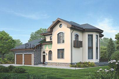 Проект двухэтажного дома 17x14 метров, общей площадью 209 м2, из керамических блоков, c гаражом, террасой и котельной