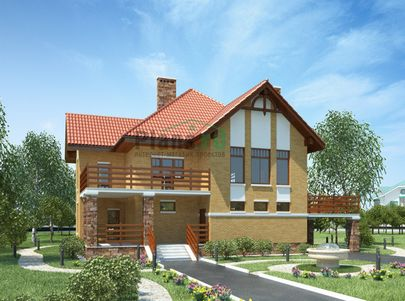 Проект двухэтажного дома 17x14 метров, общей площадью 209 м2, из керамических блоков, c террасой и котельной