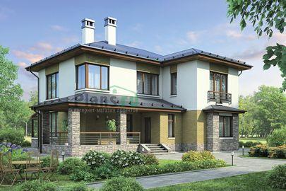 Проект двухэтажного дома 17x14 метров, общей площадью 213 м2, из керамических блоков, c зимним садом, террасой, котельной и кухней-столовой