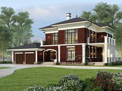 Проект двухэтажного дома 17x14 метров, общей площадью 236 м2, из керамических блоков, c гаражом, террасой, котельной и кухней-столовой