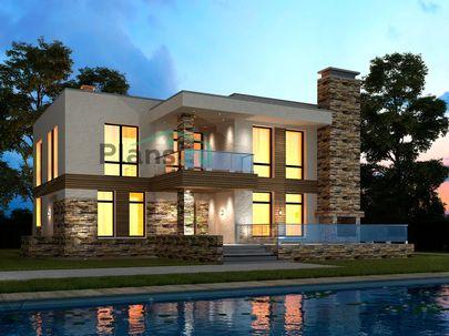 Проект двухэтажного дома 17x14 метров, общей площадью 314 м2, из газобетона (пеноблоков), c террасой, котельной и кухней-столовой