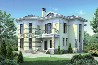 Проект двухэтажного дома 17x15 метров, общей площадью 228 м2, из керамических блоков, c террасой, котельной и кухней-столовой