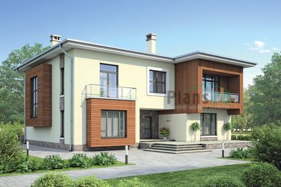 Проект двухэтажного дома 17x15 метров, общей площадью 307 м2, из керамических блоков, c террасой, котельной, лоджией и кухней-столовой