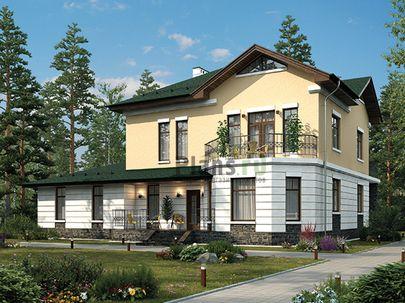 Проект двухэтажного дома 17x16 метров, общей площадью 245 м2, из керамических блоков, c бассейном, террасой, котельной и кухней-столовой