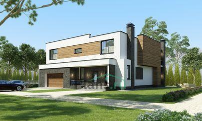 Проект двухэтажного дома 17x16 метров, общей площадью 267 м2, из керамических блоков, со вторым светом, c гаражом, террасой, котельной и кухней-столовой