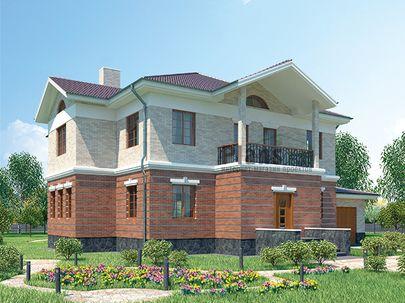 Проект двухэтажного дома 17x16 метров, общей площадью 293 м2, из керамических блоков, c гаражом, котельной и кухней-столовой