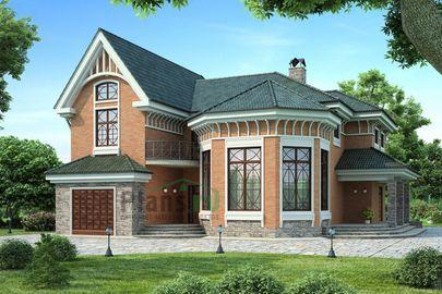 Проект двухэтажного дома 17x17 метров, общей площадью 228 м2, из керамических блоков, со вторым светом, c гаражом, террасой, котельной и кухней-столовой
