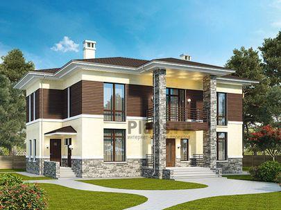 Проект двухэтажного дома 17x17 метров, общей площадью 229 м2, из газобетона (пеноблоков), со вторым светом, c террасой, котельной и кухней-столовой