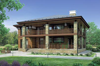 Проект двухэтажного дома 17x17 метров, общей площадью 251 м2, из керамических блоков, c террасой