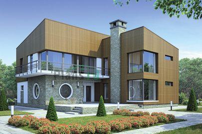 Проект двухэтажного дома 17x17 метров, общей площадью 270 м2, из керамических блоков, c террасой, котельной, лоджией и кухней-столовой