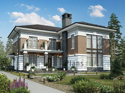 Проект двухэтажного дома 17x17 метров, общей площадью 271 м2, из керамических блоков, со вторым светом, c террасой, котельной и кухней-столовой