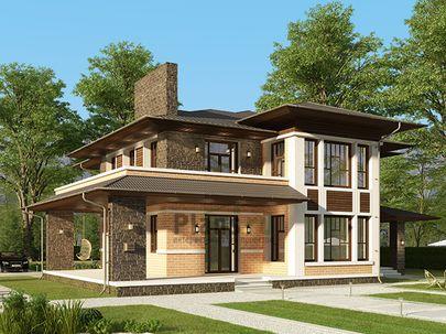Проект двухэтажного дома 17x18 метров, общей площадью 280 м2, из керамических блоков, со вторым светом, c зимним садом, террасой, котельной и кухней-столовой